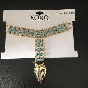 Turquoise & Gold Drop Choker